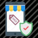 ecommerce safety, mcommerce, mobile shopping, eshopping, safe shopping icon