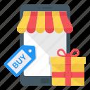 mobile store, mcommerce, mobile gfit, eshopping, ecommerce icon