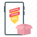 mobile sale, mcommerce, mobile shopping, eshopping, shopping offer icon