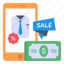 clothing sale, discount clothing, mcommerce, eshopping, shopping offer icon