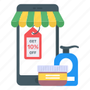 mobile store, mcommerce, mobile shopping, eshopping, beauty products sale icon