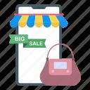 mobile store, mcommerce, mobile shopping, eshopping, big sale icon