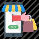 mobile store, mcommerce, mobile buying, eshopping, ecommerce icon