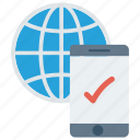 globe, mobile, phone, tick, world icon