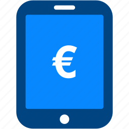 currency, euro, financial, money, payment, shopping, tablet icon