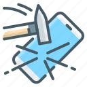 mobile, broken, shockproof, smartphone, hammer