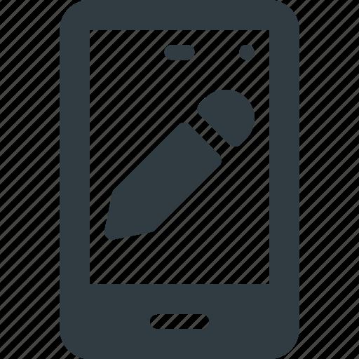 edit, mobile, pen, phone, smart, smartphone icon