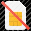 card, communication, error, no, sim icon