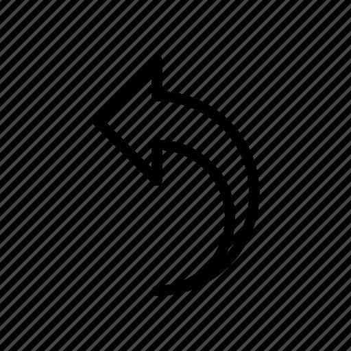 arrow, curve, direction, left, pointer icon