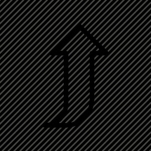 arrow, curve, direction, pointer, upward icon