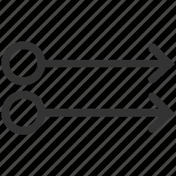 arrow, double, fingers, gesture, right, slide, swipe icon