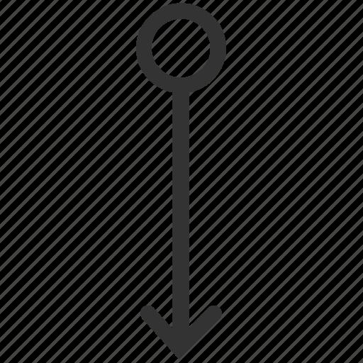 arrow, bottom, down, gesture, slide, swipe, vertical icon