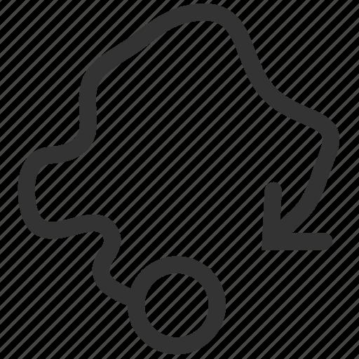 arrow, direction, draw, freeform, gesture, lost, tab icon