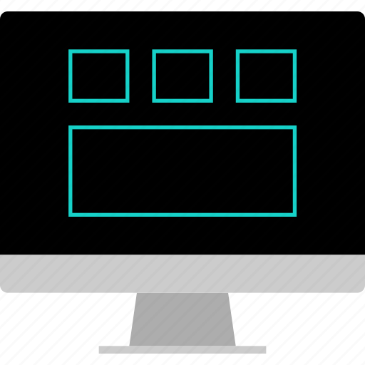 computer, gallery, grid, layout, website, wireframe icon
