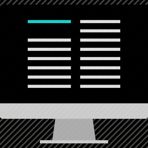 blog, layout, online, post, website, wireframe icon