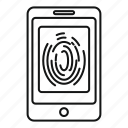 access, finger, fingerprint, print, privacy, scan, smartphone