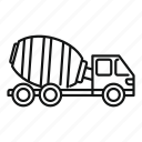 automobile, cement, contractor, deliver, machinery, mixer, truck