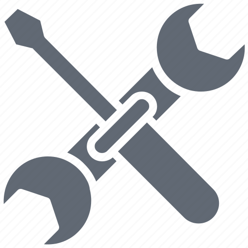 repair tools, screwdriver, settings, spanner, wrench icon