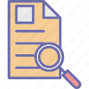 file scanning, magnifier, search document, search file icon