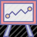 business presentation, chalkboard, easel, graph presentation icon