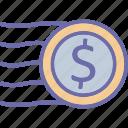 cash, currency coin, dollar, dollar coin icon