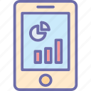 analytics, infographic, mobile, mobile graph icon
