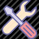 repair tools, screwdriver, settings, spanner icon