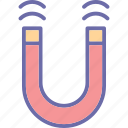 horseshoe magnet, magnet, magnetic field, magnetism icon