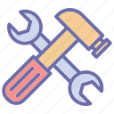 hammer, handyman, repair tools, spanner icon