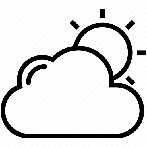 cloud, cloudy day, sky, sun, sunny cloudy icon