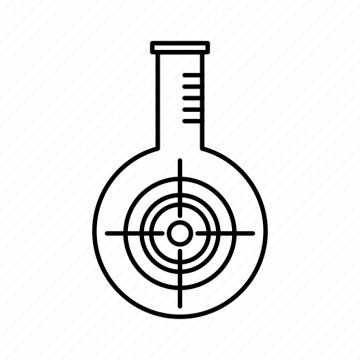 chemical, flask, lab, reaction, target icon