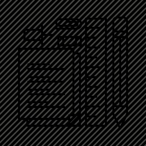 notepad, pen, pencil, pin, stationary icon