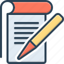 academic, editorial, knowledge, notebook, pen, student notes, writer icon
