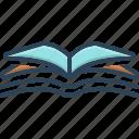 education, encyclopedia, magazine, open book, publication, study, textbook icon