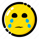 cry, crying, emoji, emoticon, expression icon