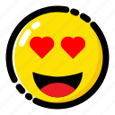 emoji, emoticon, expression, fall in love icon