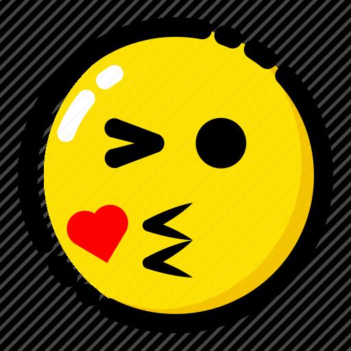 emoji, emoticon, expression, give a kiss icon