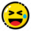 emoji, emoticon, expression, laughing while sweating icon