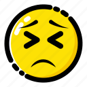 emoji, emoticon, expression, tired, tired face icon