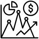 dollar chart, dollar graph, financial analysis, financial chart, financial market icon