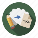 arrow, arrows, cloud, code, coder, html, internet, layout, pencil, psd, psd2html, right, tag, to, up, web icon