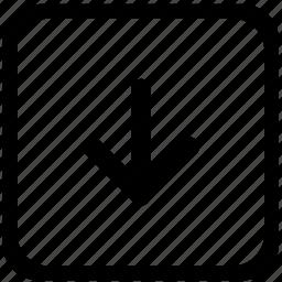 arrow, bottom, down, function, key, keyboard icon
