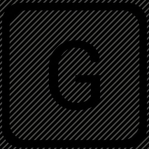 case, g, key, keyboard, letter, upper icon
