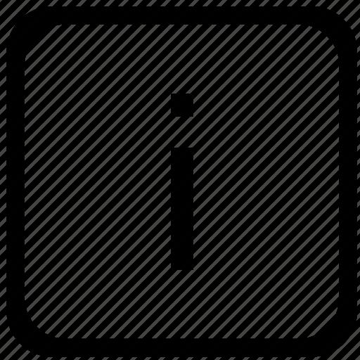 case, i, key, keyboard, letter, lower icon
