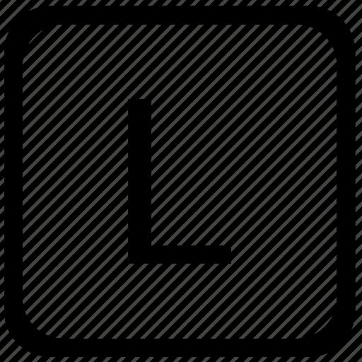 case, key, keyboard, l, letter, upper icon