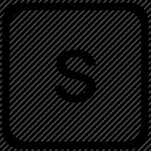 case, key, keyboard, letter, lower, s icon