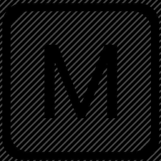 case, key, keyboard, letter, m, upper icon
