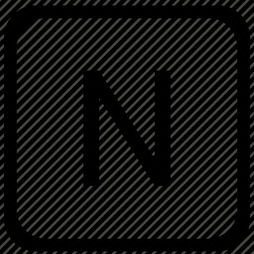 case, key, keyboard, letter, n, upper icon