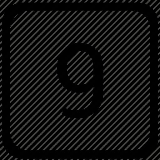 key, keyboard, nine, number icon