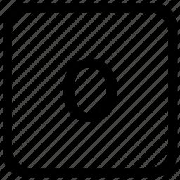 case, key, keyboard, letter, lower, o icon